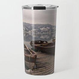Rowing Boats At The Lake Bled Travel Mug