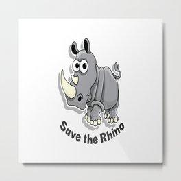 save the rhino Metal Print