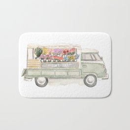 Flower Truck Watercolor Print Mint Bath Mat