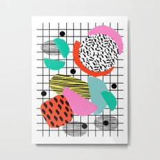 Posse - 1980's style throwback retro neon grid pattern shapes 80's memphis design neon pop art Metal Print