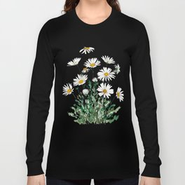 white Margaret daisy watercolor Long Sleeve T-shirt