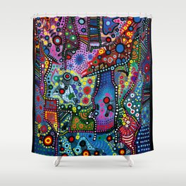 """Blue Candy Gloom"" Shower Curtain"