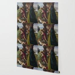 "Sandro Botticelli ""Adoration of Christ with Saint John"" Wallpaper"