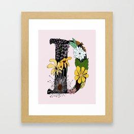 Flowery Illuminated Letter D Framed Art Print