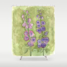 Hollyhock Foxglove Watercolor Muted Tones Shower Curtain