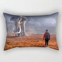 Elephant and Man Meet Rectangular Pillow