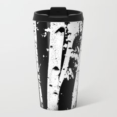 Black and White Birch Trees Fade Out Metal Travel Mug