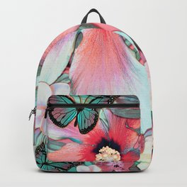 Peachy Mint Hibiscus Tropical Backpack