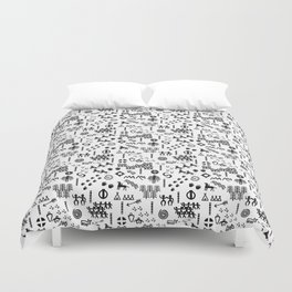 Peoples Story - Black on White Duvet Cover