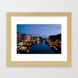 Amazing  Venice  Italy  travel  wanderlust, blue sea canals, night in Venice   canal  bridge  tour Framed Art Print