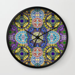 Deep Lush Mega Mandala in Gem Tones Wall Clock