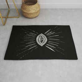 Evil Eye Silver on Black #1 #drawing #decor #art #society6 Rug