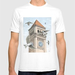 Clock Tower with Swallows T-shirt