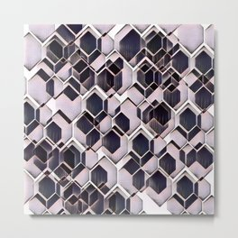 blue grey purple black and white abstract geometric pattern Metal Print
