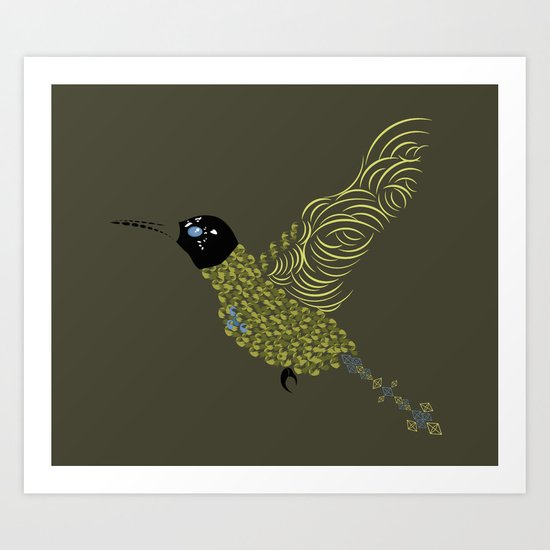 Abstract Hummingbird Art Print