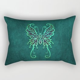 Intricate Teal Blue Vintage Tribal Butterfly Rectangular Pillow