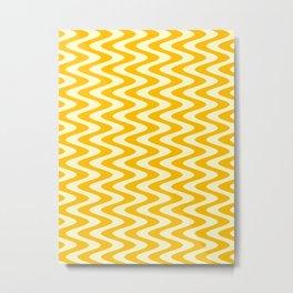 Cream Yellow and Amber Orange Vertical Waves Metal Print