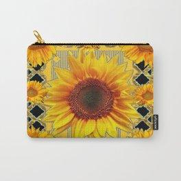 Western Black Golden Sunflowers Art Carry-All Pouch