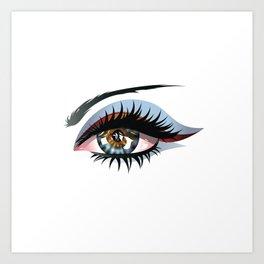 Blue eye with make up Art Print