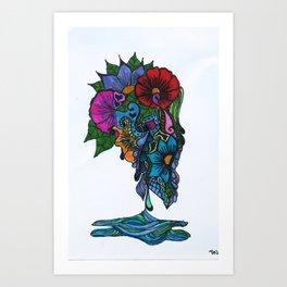 Henna design 12 (Crying Flowers) Art Print