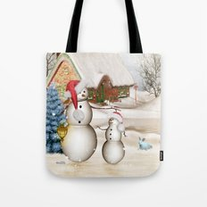 Funny snowmans with christmas hat Tote Bag