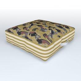 Birds of Prey in Gold Outdoor Floor Cushion