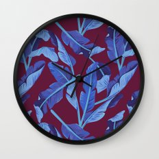 Tropical '17 - Blue Bird Of Paradise [Banana Leaves] Wall Clock