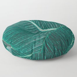Green Tropical Leaves No1 Floor Pillow