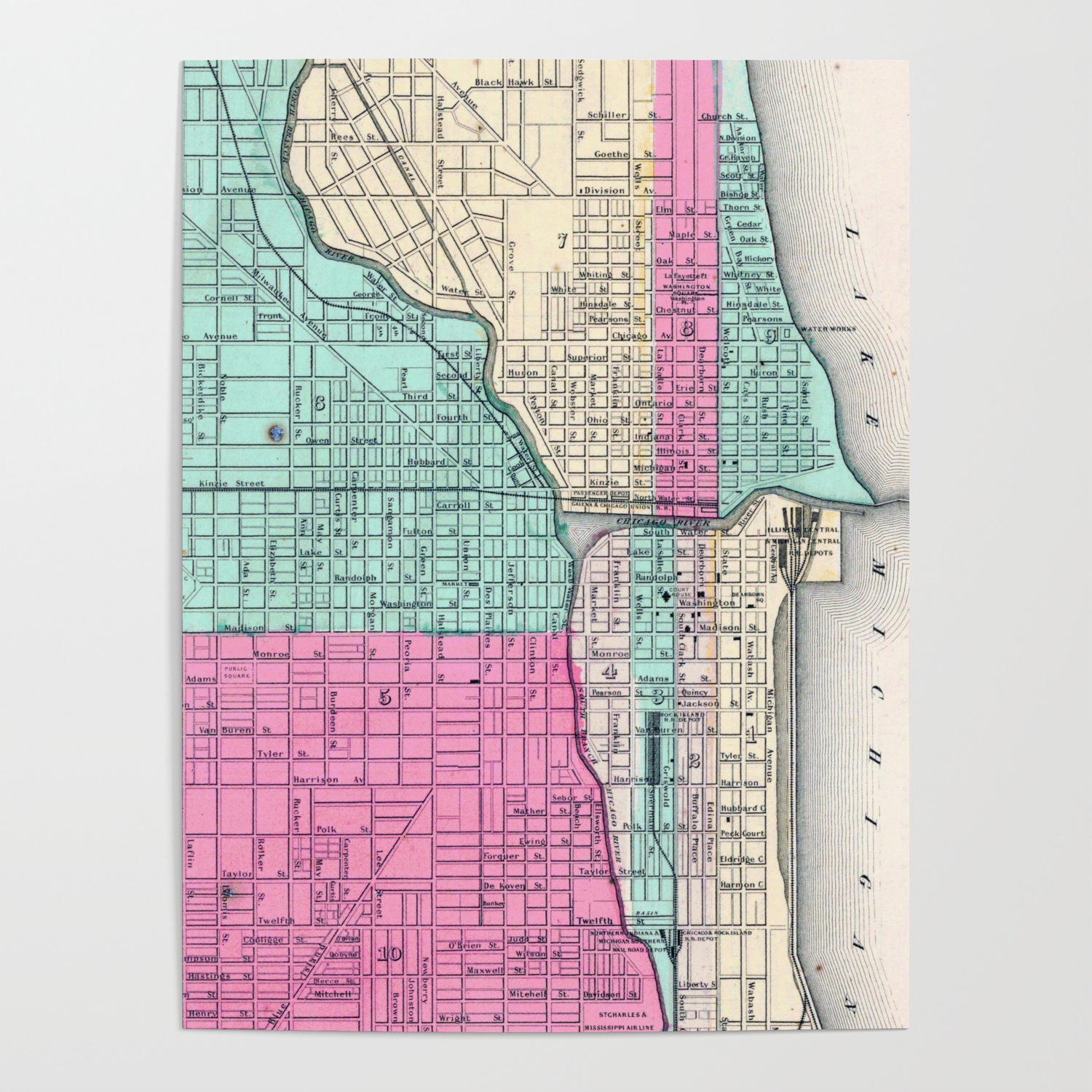 Vintage Map of Chicago IL (1855) Poster by vuramedia on