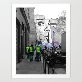 Paris street art black and white with color Art Print