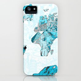 World map landmark collage blue iPhone Case