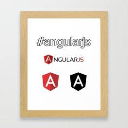 angularjs black Angular developer logo sticker white red angular.js Framed Art Print