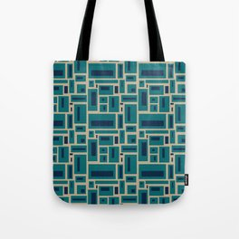Geometric Rectangles in Navy, Teal and Tan 2 Tote Bag