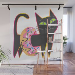 My cat loves donuts Wall Mural