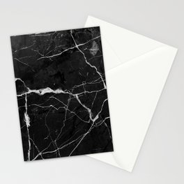 Black Suede Marble With White Lightning Veins Stationery Cards