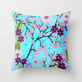 Art Deco Floral Fantasy Pattern in Aqua Background Throw Pillow
