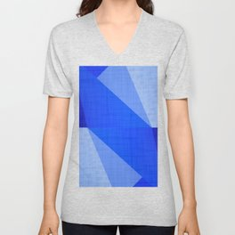 Lapis Lazuli Shapes - Cobalt Blue Abstract Unisex V-Neck