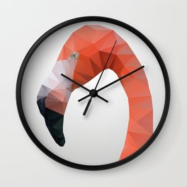 Flamingo – modern polygram illustration, wall art print Wall Clock