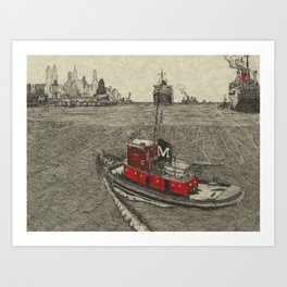 Morgan Tugboat, Hudson river, New York Art Print