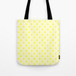 Electric Yellow on Cream Yellow Stars Tote Bag