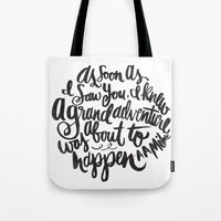 adventure Tote Bags featuring grand adventure by Matthew Taylor Wilson