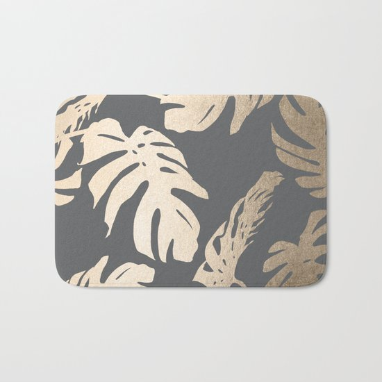 Simply Tropical Palm Leaves White Gold Sands on Storm Gray Bath Mat