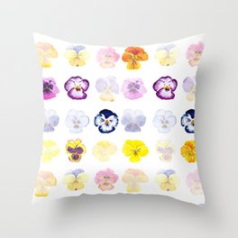 colorful pansies watercolor painting Throw Pillow