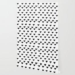 Retro Hearts Pattern Black White Wallpaper