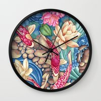 outdoor Wall Clocks featuring Koi Pond by Vikki Salmela