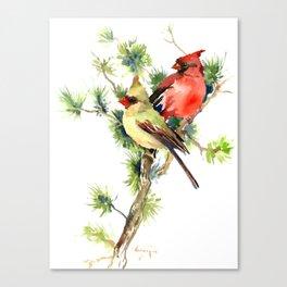 Cardinal Birds on Pine Tree Canvas Print