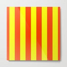 Bright Neon Orange and Yellow Vertical Cabana Tent Stripes Metal Print