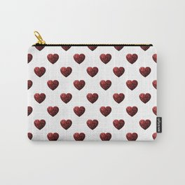 Red Glitter sparkles Heart on white Carry-All Pouch