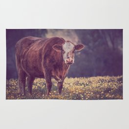 Brown Cow in Wild Flower Field Rug