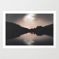 Lake Sunset Silhouette Art Print